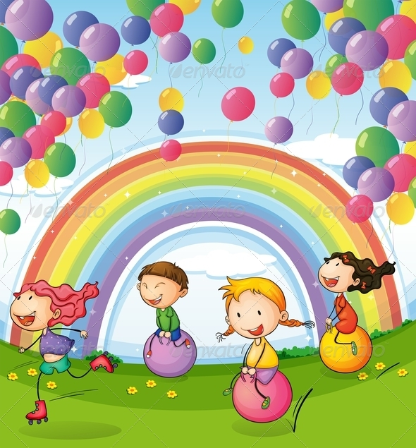 GraphicRiver Kids with Balloons and Rainbows 7974771