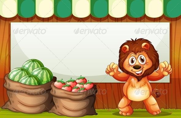 Lion at a Market