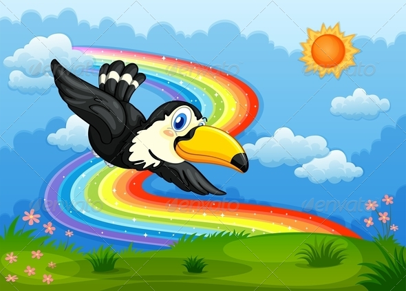 GraphicRiver Bird in the Sky with Rainbow 7974820