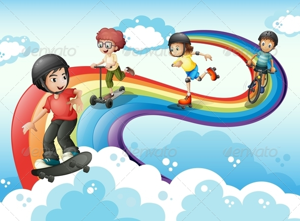 GraphicRiver Kids Playing in the Sky with Rainbow 7974823