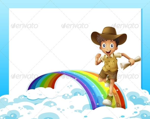 Boy running over Rainbow