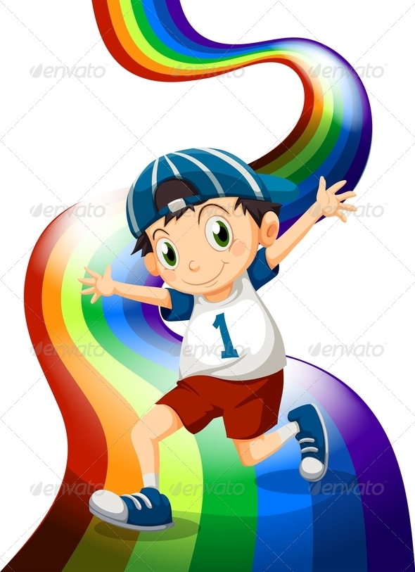 GraphicRiver Boy and Rainbow 7974831