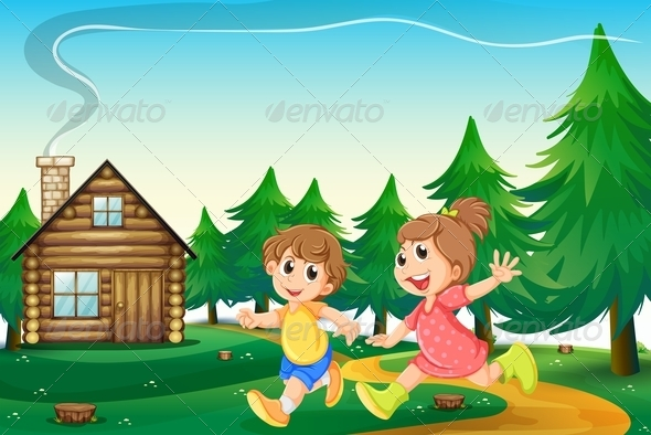 GraphicRiver Kids outside a Wooden Cottage 7974835