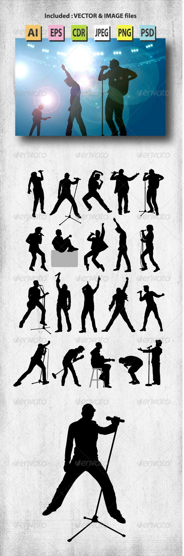 GraphicRiver Male Singer Silhouettes 7974842