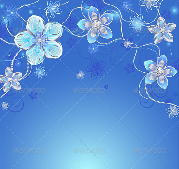 GraphicRiver Blue Background with Silver Flowers 7974845