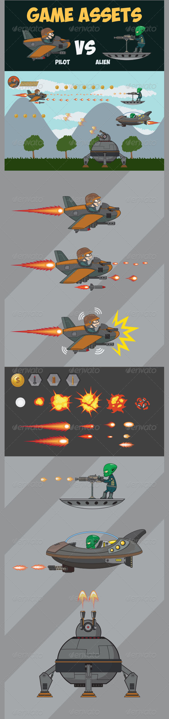 GraphicRiver Game Asset Pilot Vs Alien 7975387