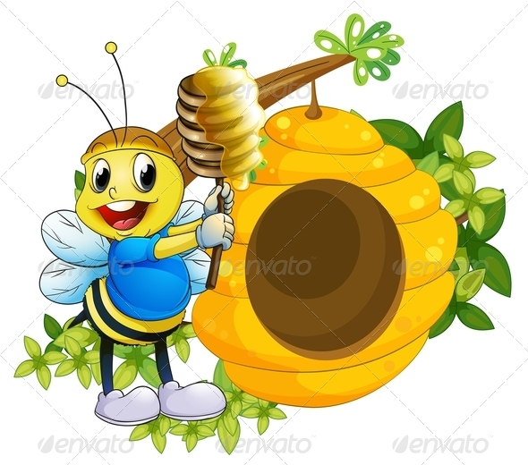 GraphicRiver Bee playing with Honey 7975614