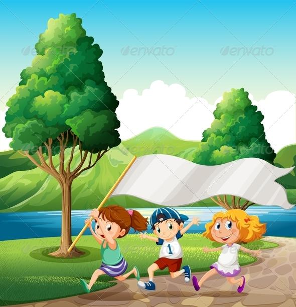 Kids running along a Riverbank