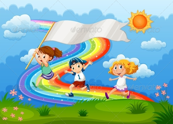 GraphicRiver Kids running over Rainbow 7975790