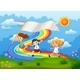Kids running over Rainbow - GraphicRiver Item for Sale