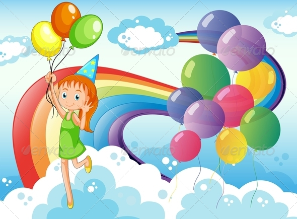 GraphicRiver Girl in the Sky with Rainbow and Balloons 7975833