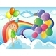 Girl in the Sky with Rainbow and Balloons - GraphicRiver Item for Sale