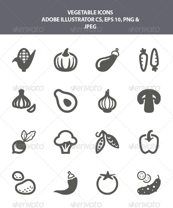 GraphicRiver Vegetable Icons 7976250