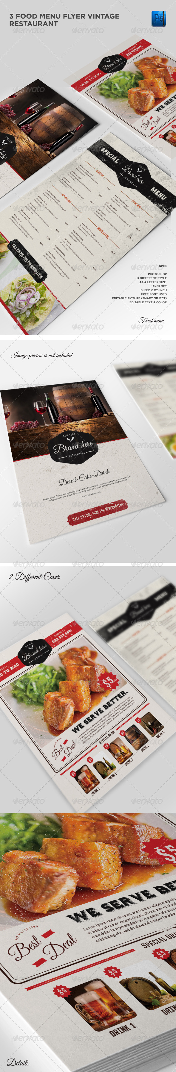 GraphicRiver 3 Vintage Flyer Food Menu 7976457