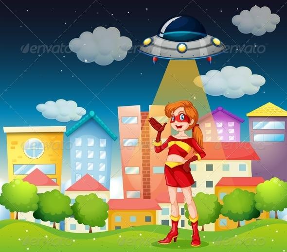 GraphicRiver Superhero below Saucer 7976534