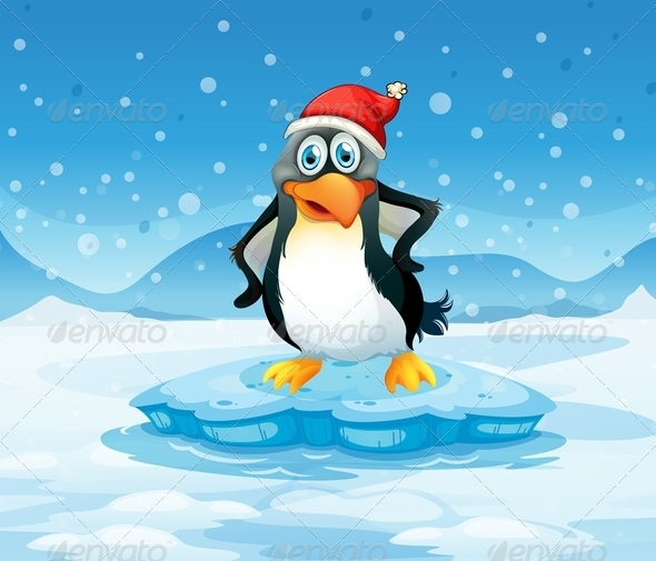 GraphicRiver Penguin wearing Santa Hat 7976554