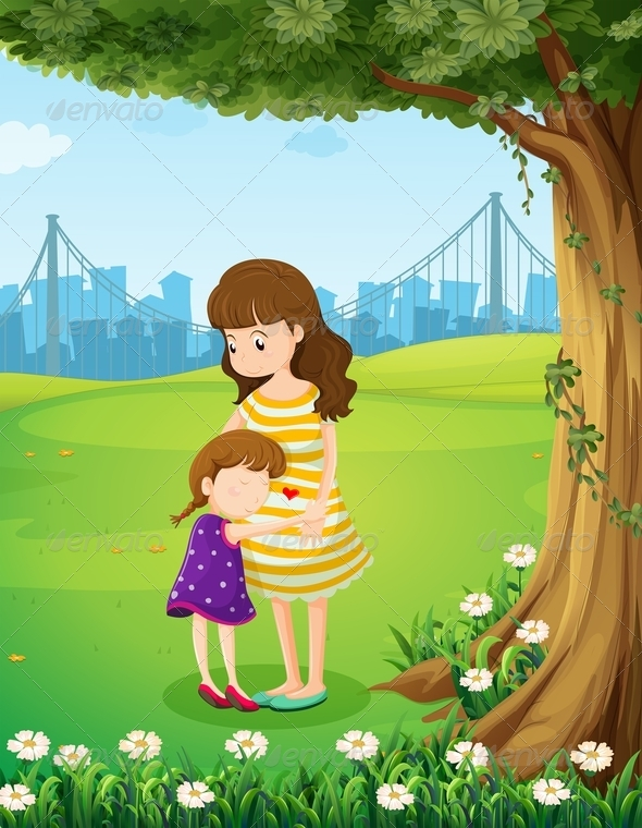 GraphicRiver Mother and Daughter under a Tree 7976555