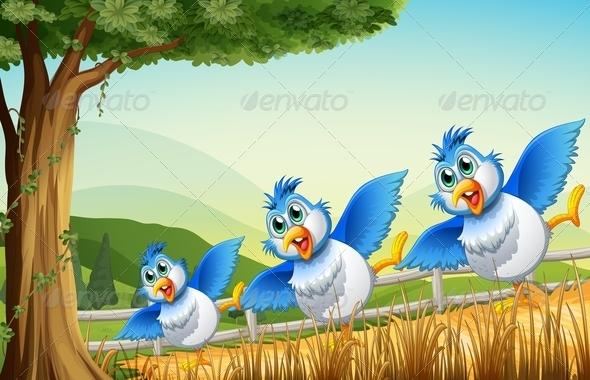GraphicRiver Birds under a Tree 7976564