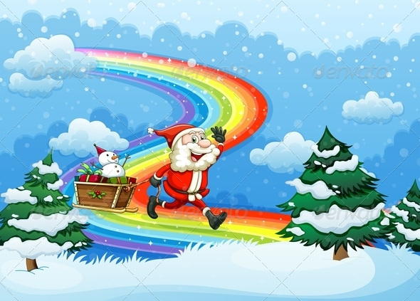 GraphicRiver Santa and Sleigh walking over Rainbow 7976777