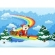Santa and Sleigh walking over Rainbow - GraphicRiver Item for Sale