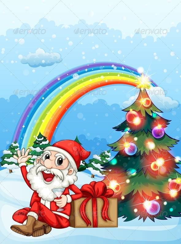 GraphicRiver Santa and Gifts with Rainbow 7976789
