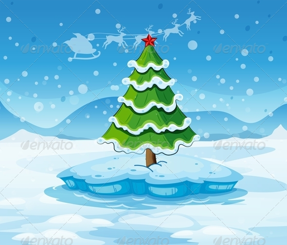 GraphicRiver Pine Tree on Ice 7976788