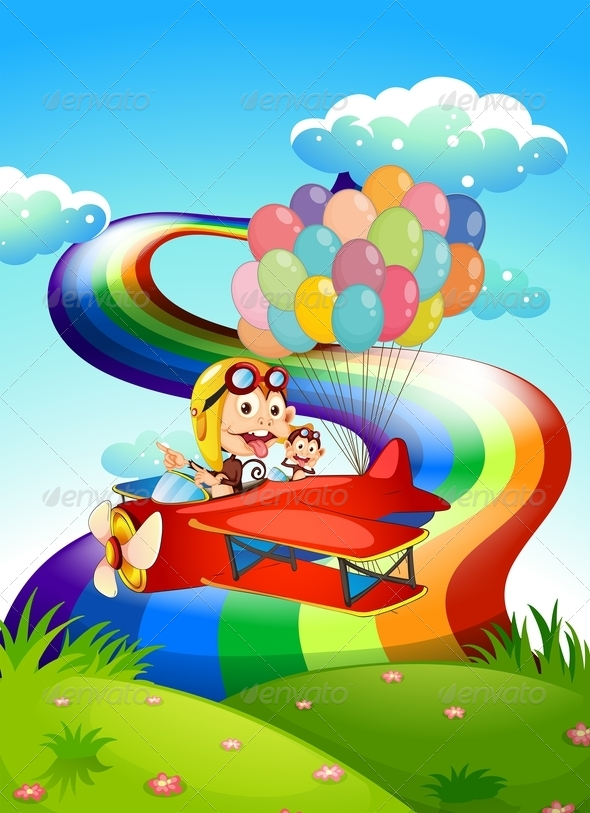 GraphicRiver Monkey on Plane with Rainbow 7976851