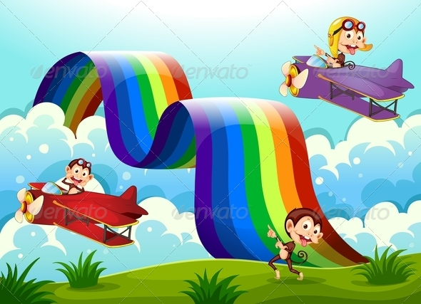 GraphicRiver Monkeys Planes and a Rainbow 7976857