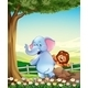 Elephant and Lion on Hilltop - GraphicRiver Item for Sale