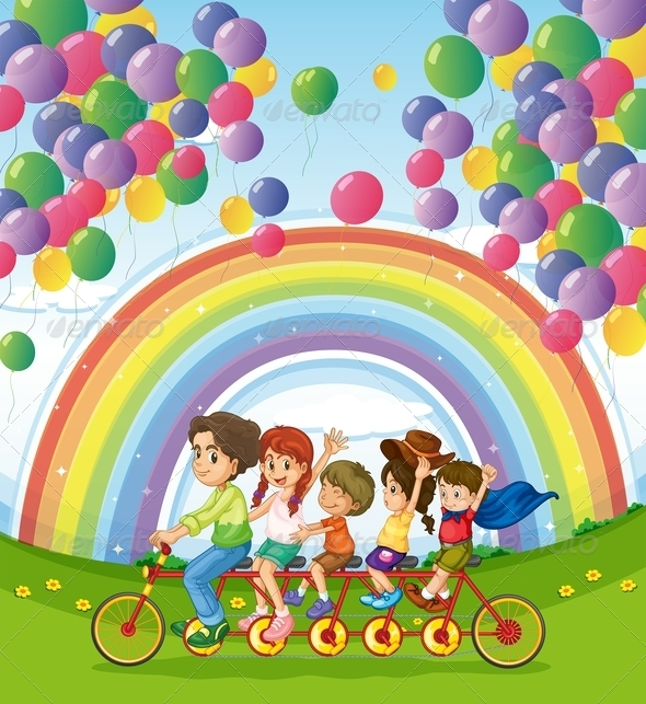 GraphicRiver Multi-Wheeled Bike with Family Balloons and Rainbow 7977261