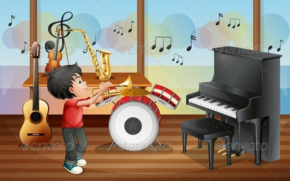 GraphicRiver Kid Playing Music 7977290