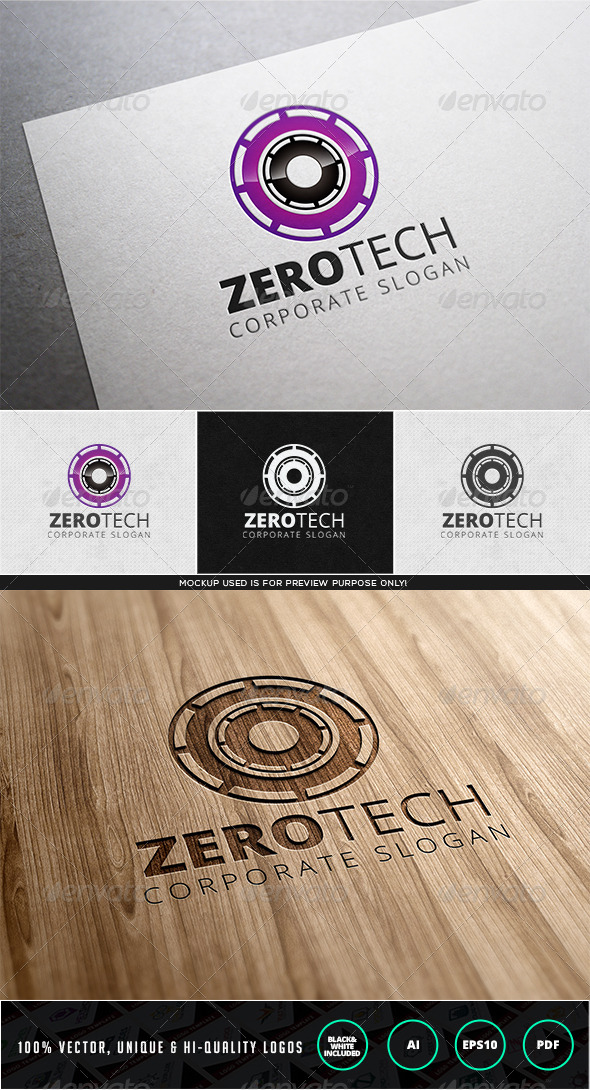 Zero Tech Logo Template - Numbers Logo Templates