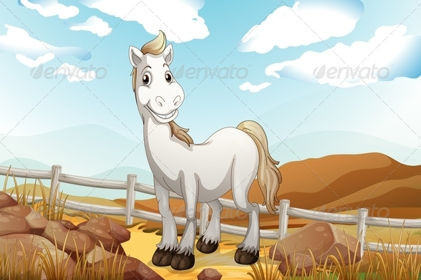 GraphicRiver Horse near Fence 7977314
