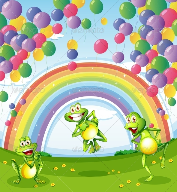 GraphicRiver Frogs with Balloons and Rainbow 7977316