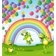 Frogs with Balloons and Rainbow - GraphicRiver Item for Sale
