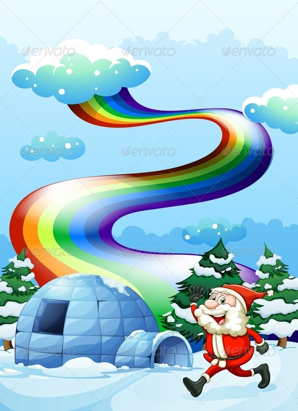 GraphicRiver Santa near an Igloo with Rainbow 7977318