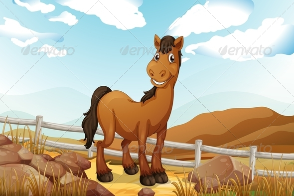GraphicRiver Horse near Fence 7977326