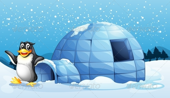 Penguin Beside an Igloo