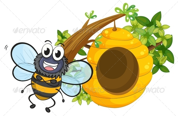 GraphicRiver Smiling Bee Beside Its Beehive 7977474