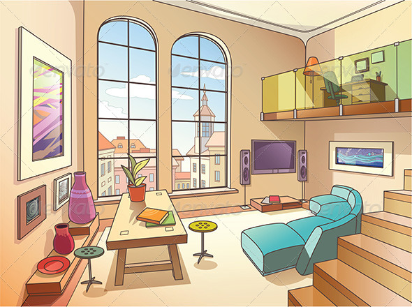 GraphicRiver Light Living Room with a Mezzanine 7977482