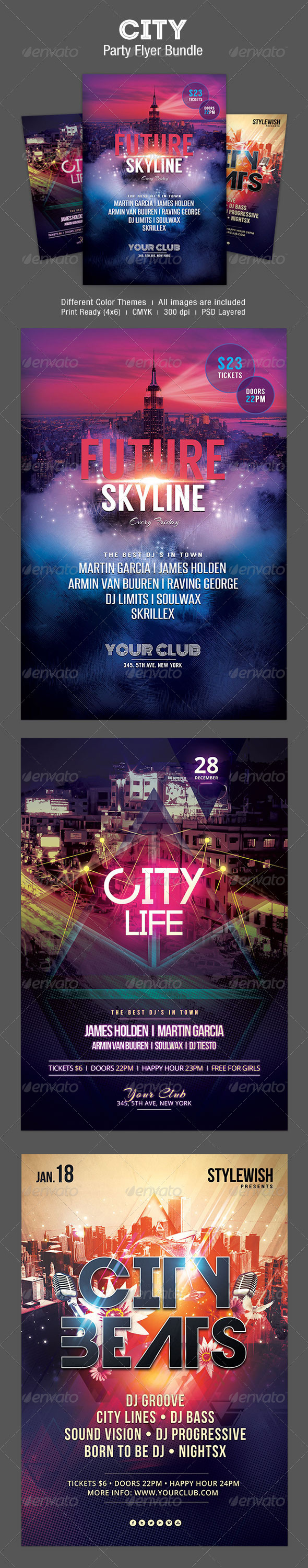 City Party Flyer Bundle - Clubs & Parties Events