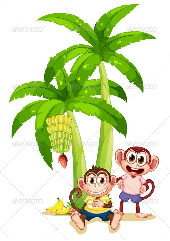 GraphicRiver Two Monkeys Under a Banana Plants 7977498
