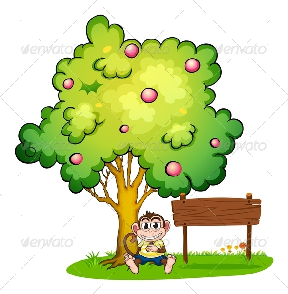 GraphicRiver Monkey Under a Tree Beside an Empty Sign 7977503