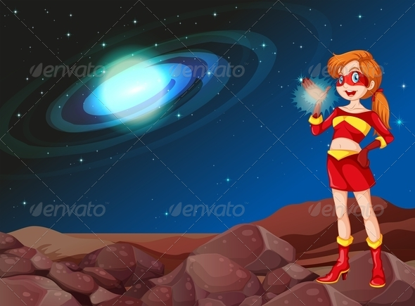 GraphicRiver Lady Superhero in Outerspace 7977506