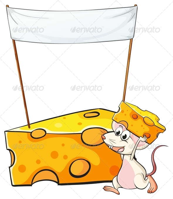 GraphicRiver Mouse Carrying a Slice of Cheese Below a Sign 7977509