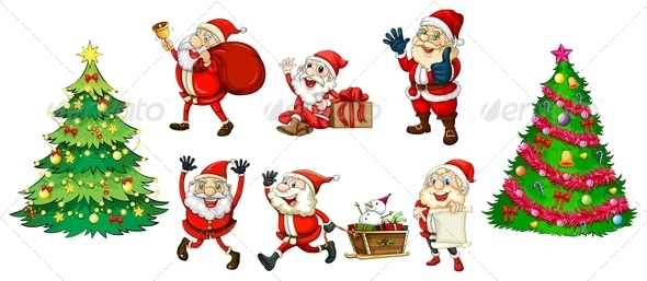 GraphicRiver Santa with Christmas Trees 7977510