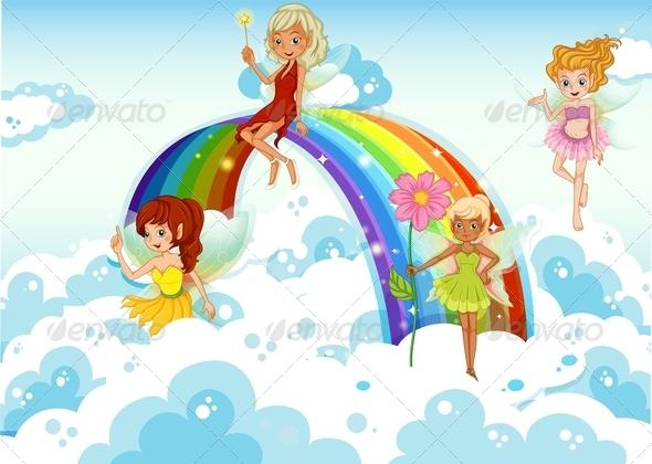 GraphicRiver Fairies Above the Sky Near a Rrainbow 7977516