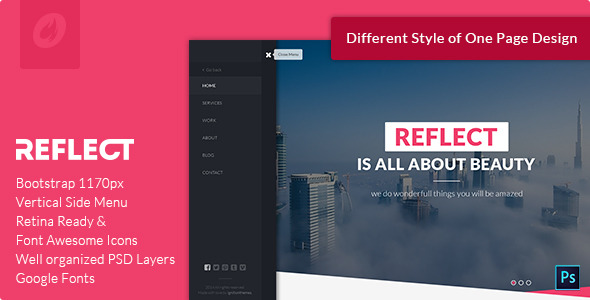 Reflect - Single Page PSD Template