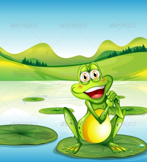 GraphicRiver Smiling Frog Above a Waterlily at the Pond 7977524