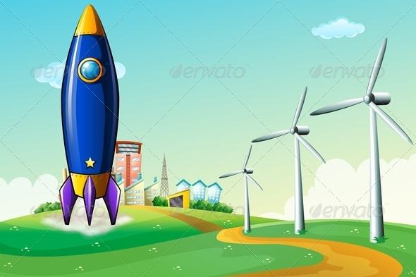 Rocket on a Hill Near Windmills